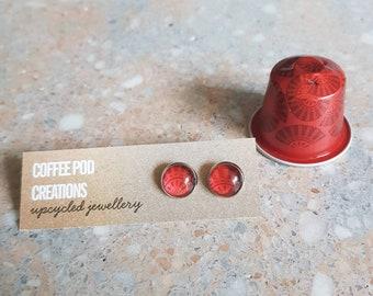 Eco-friendly Stud Earrings handmadeby Coffee Pod Creations, Hypoallergenic, Sustainable Jewellery,  Unique Gift, World Collection Range