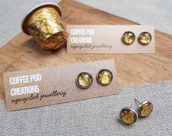 Made to Order, Upcycled studs handmade by Coffee Pod Creations, sustainable gifts for her, eco friendly gift