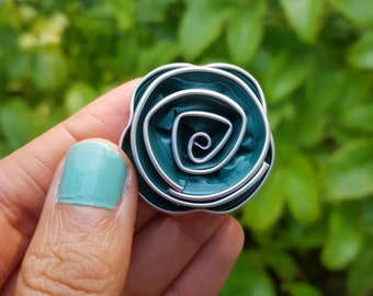 Upcycled Green Floral Brooch Handmade from Coffee Pods, Unisex gift, Eco Friendly Brooch, perfect for weddings, by Coffee Pod Creations