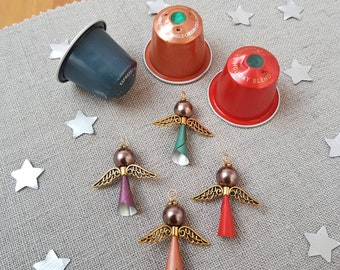 4 Starbucks Upcycled Gold Angels - choose your colour - Christmas Decorations - handmade by Coffee Pod Creations - Sustainable Gifts - Tree
