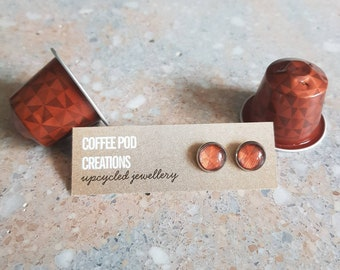 Geometric Eco-friendly Stud Earrings by Coffee Pod Creations, Hypoallergenic, Sustainable Jewellery,  Unique Gift, World Collection Range