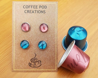 Sustainable Stud Earrings, pack of two, Made to Order, Choose Your Own Colours, handmade by Coffee Pod Creations, Eco Gift for a friend