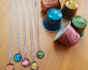 Upcycled Silver Pendant Necklace from Coffee Pods, Choose Your Own Colour Pendant, Sustainable and Handmade by Coffee Pod Creations