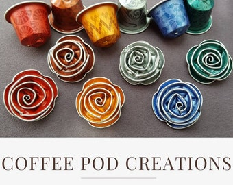 Eco-friendly Brooches by Coffee Pod Creations, Handmade from Coffee Pods, Choose your colour, Sustainable and  Unique Gift, World Collection