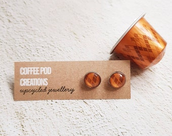Eco-friendly Stud Earrings by Coffee Pod Creations, Hypoallergenic, Sustainable Jewellery,  Unique Gift, World Collection Range