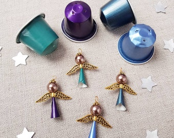 4 upcycled gold angels - choose your colour - green, blue, purple tone - Christmas Decorations - Coffee Pod Creations - Gifts - Tree