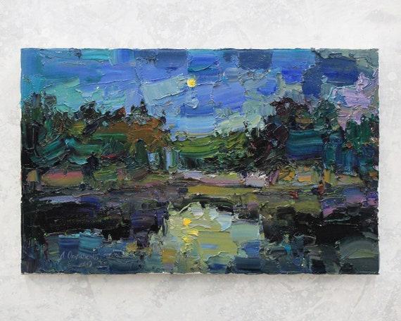 Night River Tiny Landscape Art