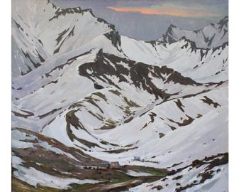 Original mountains landscape Winter landscape painting Oil art Sunset landscape IMPRESSIONISM Plein air art Oil on canvas by A. Onipchenko