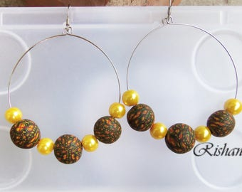 Big round earrings polymer clay jewelry / ethnic look earrings / big boho earrings / yellow