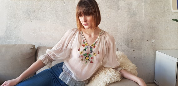 70s peasant sheer embroidery blouse - image 3