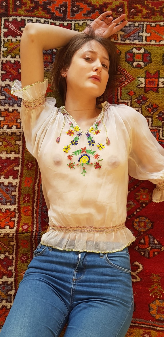 70s peasant sheer embroidery blouse - image 2