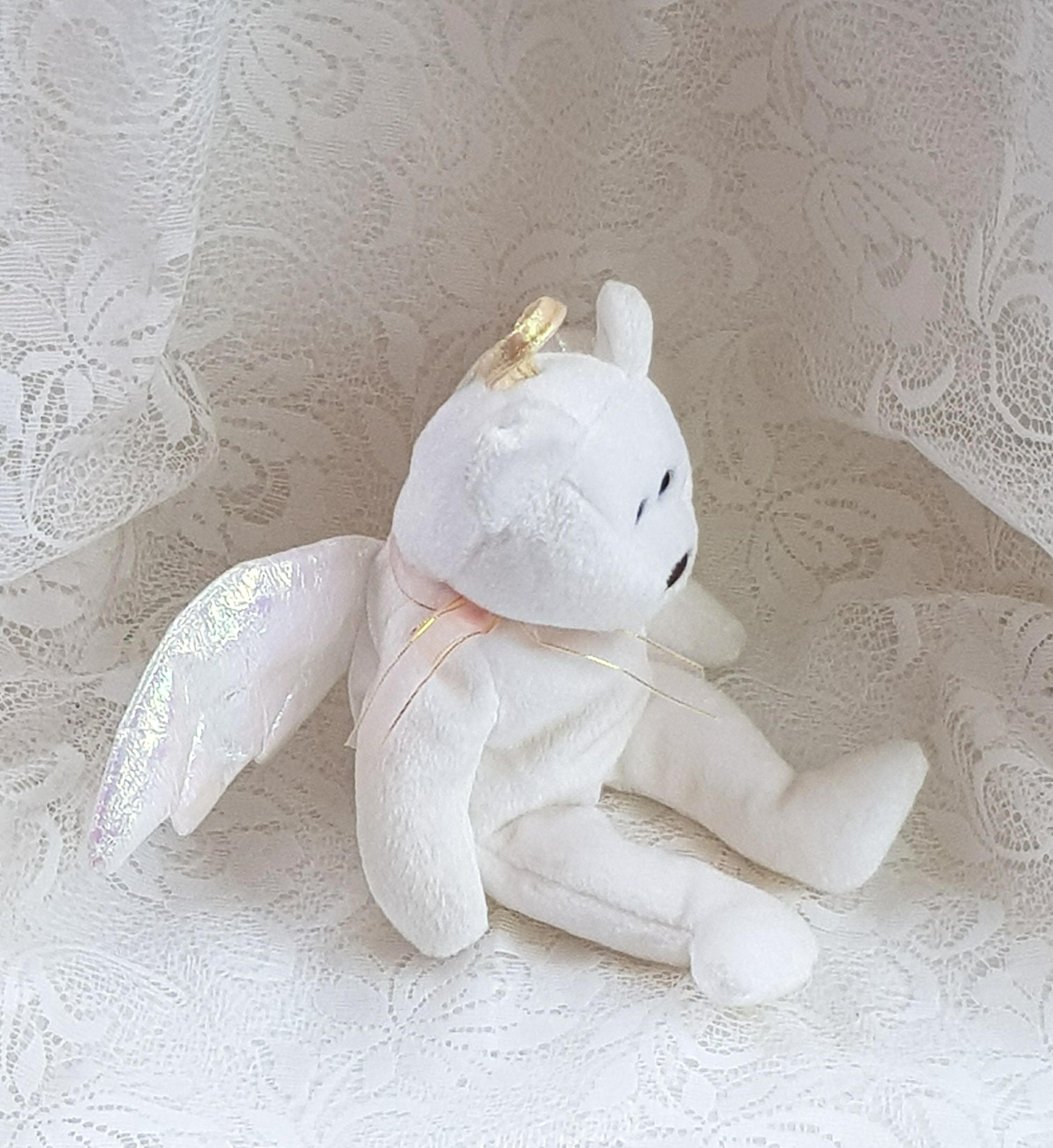Vintage HALO White Angel Beanie Ty Bear Ty Beanie Baby Bear  57b95869f90