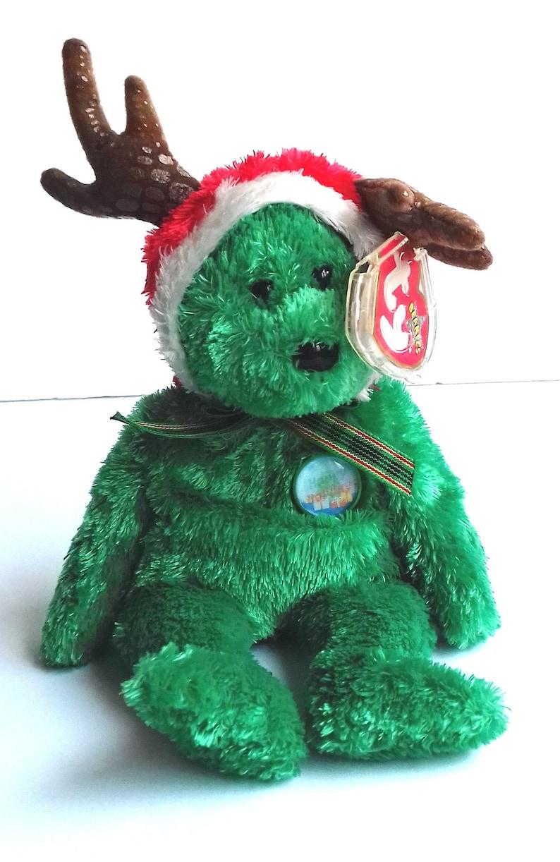 f0e19a46848 Vintage Holiday Teddy Ty Beanie Baby Bear Green Christmas Ty