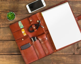 Leather A4 Notepad Cover,Standard Leather Writing Pad Folio Case,Portfolio Case,Business Record Writing 8.5x11 Paper Holder,Gift