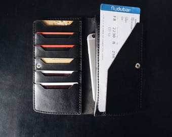 Mens Leather long wallet Travel wallet leather organizer Passport wallet Mens Woman Clutch Travel clutch coin purse