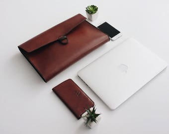 Macbook Laptop leather case A4 Leather folio Leather portfolio Macbook portfolio case leather organizer document holder iPad leather folio