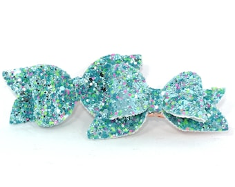 Blue glitter bow set - hair slides - girl's hair bows - rose gold hair clips - fringe clips - pigtail bows - toddler hair bows - pink green