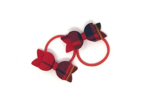 R - Tartan pigtail bows - Scottish tartan surnames clans - pair set of hair  bows - elastic hair ties - custom made in Scotland - gift