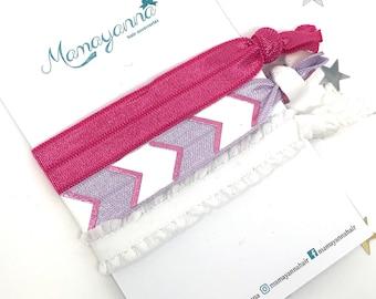Yoga hair ties, chevron hair elastics, pink white purple set of 3 hair bands, friendship bracelets, girl's hair tie gift set, hair ribbons