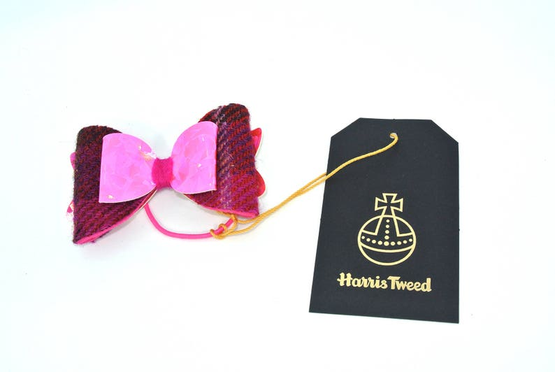 elastic hair tie Made in Scotland Pink Scottish tartan Harris Tweed hair bow holographic metallic wool medium bow accessories gift 781