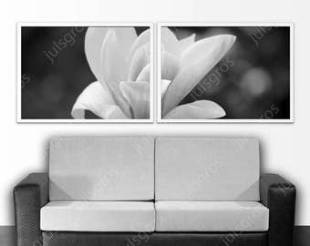 White flower art print diptych Black and white digital wall art Printable poster Photography Instant Download