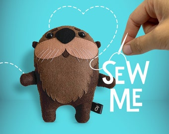 Otter Felt Sewing Kit - Make Your Own Plush Animal Toy, Christmas gifts for woman, Stocking fillers