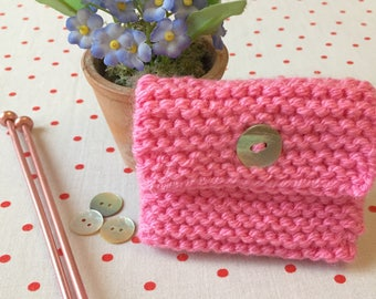 Hand knitted coin purse