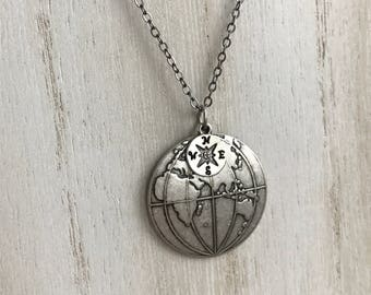 World Globe Necklace, Silver World Necklace, Travel Gifts, Compass Necklace, Earth Necklace, Planet Earth, West Hemisphere, East Hemisphere