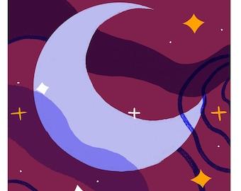 The Moon Tarot Postcard Print