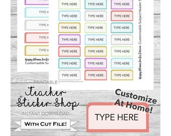 Editable Subject Headers; Happy Planner Teacher Planner; Customize at home; PRINTABLE with Cut Files; Pastel Colors; DOC and PPT format
