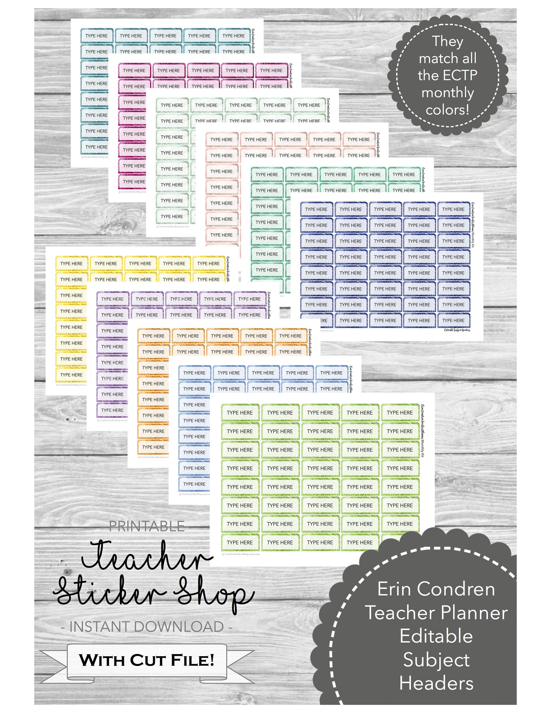 54fec26a69 Editable Subject Headers for the Erin Condren Teacher Planner