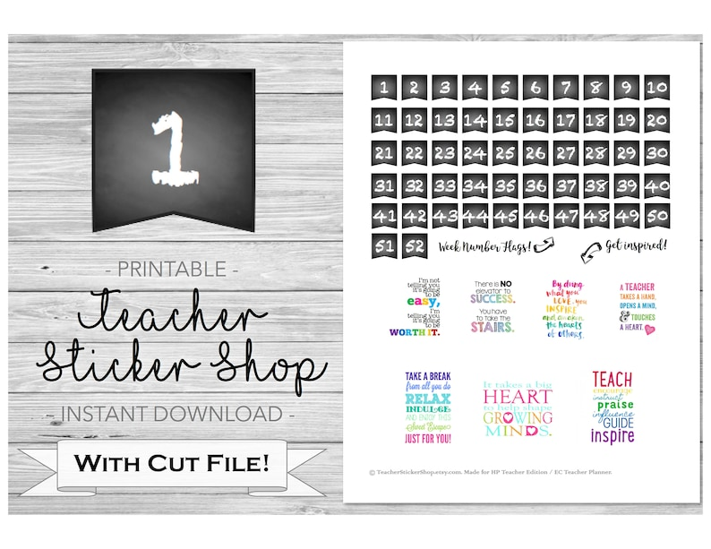 cf1d6d5ee034 Chalkboard Week Number Flag Stickers PRINTABLE with Cut File - for Happy  Planner Teacher Edition, Bullet Journal, Lesson Planner, etc.