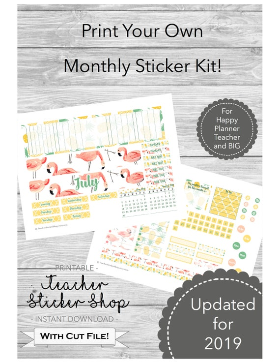photo relating to Happy Planner Monthly Layout Printable called July Trainer Planner Regular monthly Structure Stickers with Reduce Report! - PRINTABLE - For Joyful Planner Massive or Instructor Planner; Flamingo and Pineapple