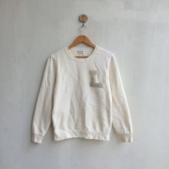 798c401ca1006 Vintage White Lacoste Sweatshirt Embroidery Nice Design