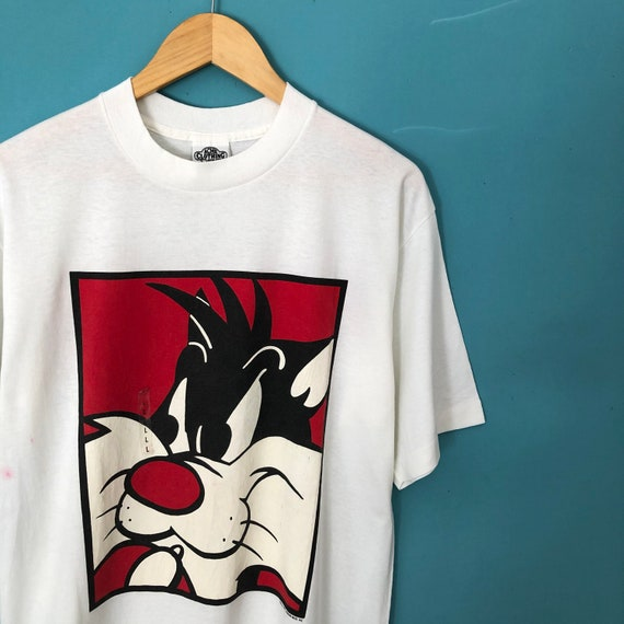 Vintage 90s Looney Tunes Sylvester Character Warn… - image 2