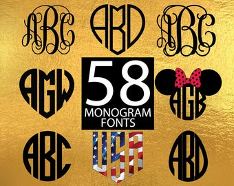 Monogram Svg Monogram Font Svg Monogram Font Bundle Svg Monogram Alphabet Svg Fonts svg, Silhouette Files svg Monogram fonts svg, Bundle svg