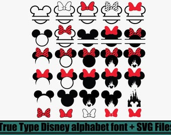 30 Svg bundle, Mickey Mouse Monogram Frames SVG Collection, Minnie Mouse Monogram Frames DXF, Clipart Files for Silhouette Cameo or Cricut
