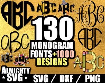 130 Monogram Svg Monogram Font Svg Monogram Font Bundle Svg Monogram Alphabet Svg Fonts svg Silhouette Files monogram svg files for cricut