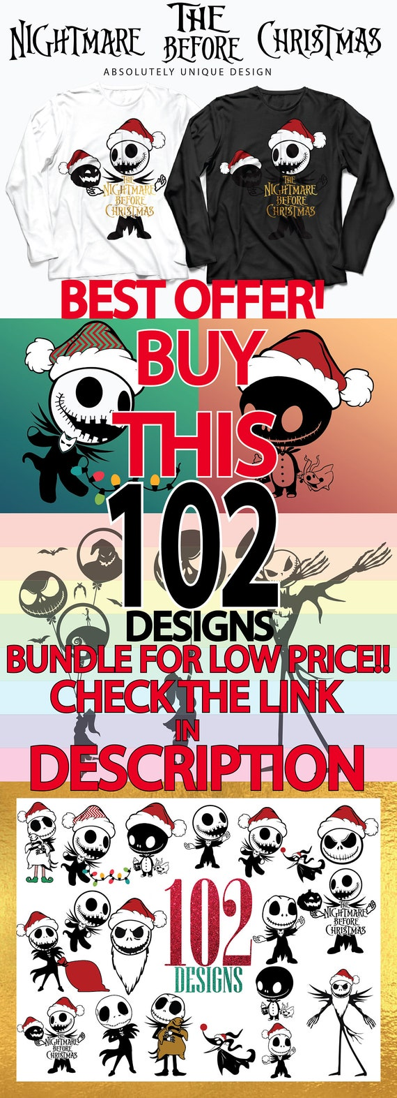 6 Svg Bundle Nightmare Before Christmas SVG Collection | Etsy