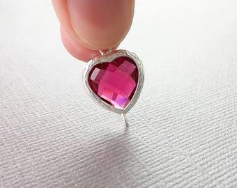 Bezel Heart Pendant, Silver Connector, Framed Glass, Red Faceted, 19mm, CRGL014