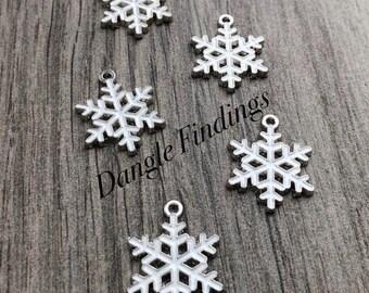 10 Enamel Christmas Charms, Snowflake Charms, Holiday Charms, HOL022