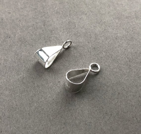 1 STERLING SILVER SIMPLE SMOOTH PENDANT PINCH BAIL GOLD PLATED 12 X 5 MM