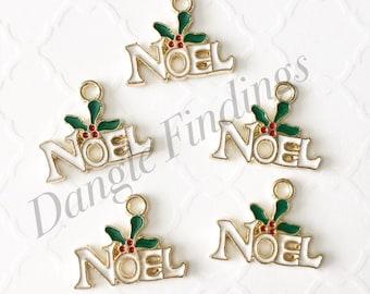 10 Christmas Charms, Noel Charms, Enamel, Holiday Charms, 19mm, HOL051