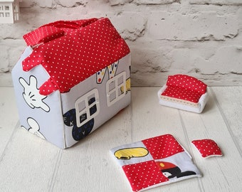 4-7 year old girl gift Dollhouse kit Blue red fabric dollhouse bag with miniature dollhouse furniture Modern dollhouse set