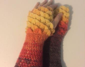 Dragon Scale Crocheted fingerless gloves