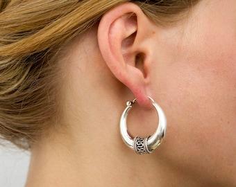 Tribal earrings in Sterling Silver Ethnic earrings Silver creole earrings thick hoops Bali earrings Thick creole tribal jewelry ethnic hoops
