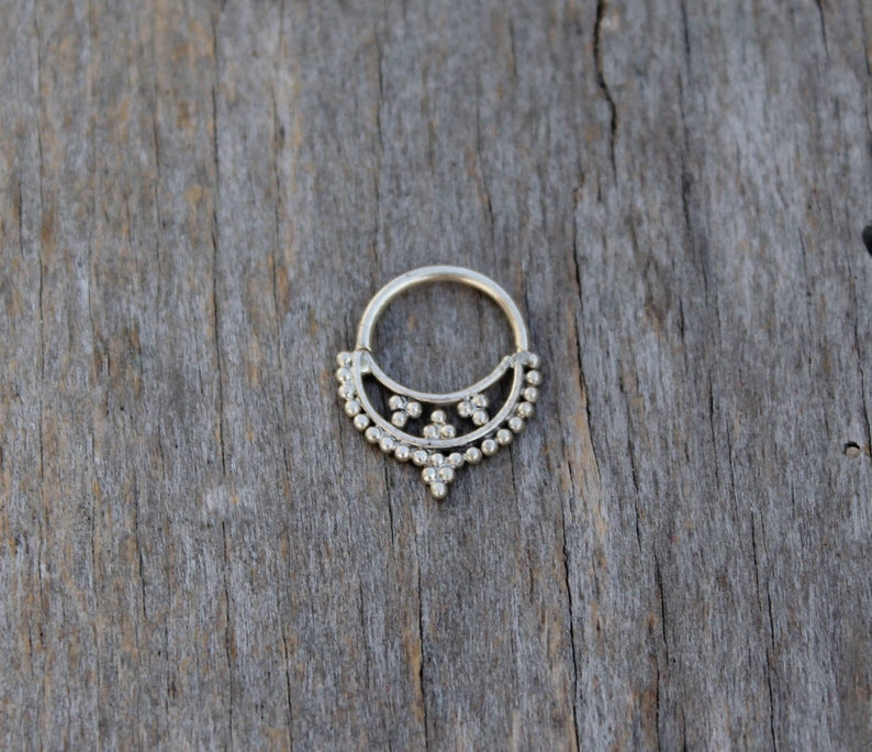 Tribal septum in sterling silver septum jewelry ethnic septum piercing for nose ring ethnic single earring cartilage rings for nose piercing