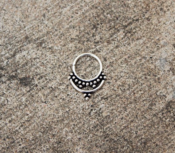 Tribal septum Ethnic jewelry for men septum ring unisex septum jewelry Silver septum gypsy mini earrings tiny hoop earrings tribal jewelry