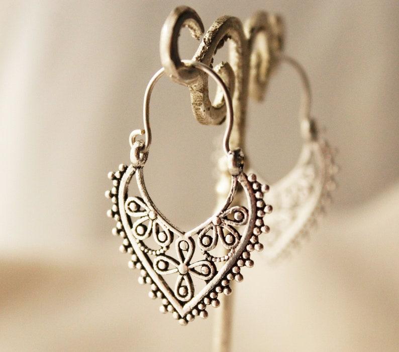 Boho earrings Bohemian earrings small silver earrings gypsy jewelry tribal earrings boho jewelry ethnic accessories boho style earrings cute