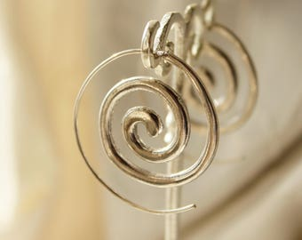 Spiral earrings Silver Plated, Minimal earrings Minimal hoops Festival earrings Boho earrings elegant Silver Creole Girlfriend gift for her